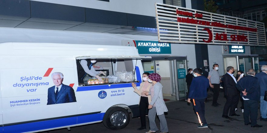 Şişli Belediyesi'nden sağlıkçılar ve hasta yakınlarına sahurda sıcak ikram