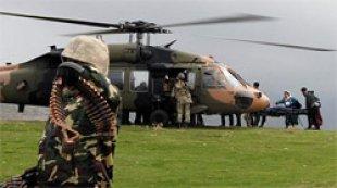PKKlı leşlerini helikopterle taşıdılar