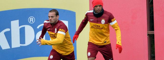 Galatasarayda Sneijder sevinci