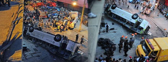 Yolcu otobüsü viyadükten düştü: 7 ölü