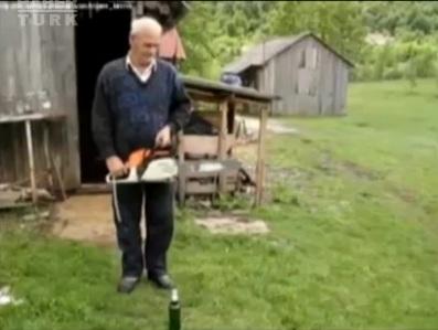 Ağaç kesme motoru ile şişe kapağı nasıl açılır?